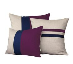 Colorblock Stripe Pillow Set - Plum & Navy Striped Pillow and Color Block Pillow Set by JillianReneDecor (Set of 3) #purple #pillows
