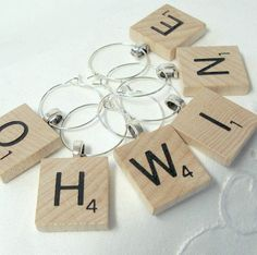 Scrabble Tile Wine Glass Charms  Wood  Your Choice by boomerville, $13.00