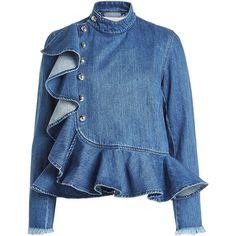 Fashion illustration denim outfit ideas for 2019 Denim Blouse, Jeans Denim, Denim Top, Denim Outfit, Ruffle Blouse, Ruffle Top, Blue Denim, Blue Blouse, Denim Fashion