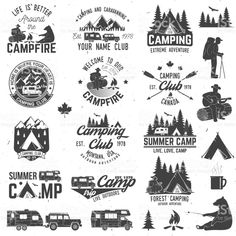 Summer camp with design elements. Camping and outdoor adventure emblems. Vintage typography design with rv trailer, camping tent, man with guitar and forest silhouette. Vintage Typography, Typography Design, Logo Design, Graphic Design, Lettering, Camping Club, Tent Camping, Camping Ideas, Camping Hacks