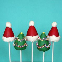 12 Christmas Tree & Santa Hat Cake Pop Combo Set - for Christmas party favors, hostess or teacher gift, stocking stuffers, treats for Santa.