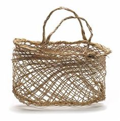 This is a kete (basket) made in 1940 by Mrs McGee of Waiomio. It is woven from nīkau palm ('Rhopalostylis sapida') using a very open plaiting technique. It may have been used for the storage of large food items, such as kūmara (sweet potato) or rua (potatoes), and possibly for cooking in a hāngī (earth oven) as well. Similar open-weave kete were also used in the gathering of kaimoana (shellfish). The kete is a straw colour and has a tighter woven rim and handles. It measures 14 cm x 22 cm.