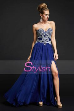 1e5265330f41a Buy 2015 Sweetheart A Line Prom Dresses Beaded Bodice With Slit And Ruffles  Online