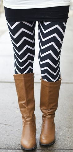 I like this pair of a very modern chevron pattern with a pair of boots..i'd love this with a lime green top