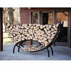 Crescent-shaped Metal Outdoor Firewood Log Rack With Kindling Holder