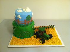 John Deere birthday cake (customer supplied the tractor that the birthday boy wanted on the cake.)