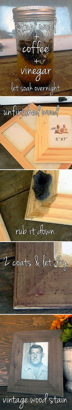 DIY Vintage Wood Stain!  This is perfect!  (I can do a white wash over it to get that old fence board color!!!)