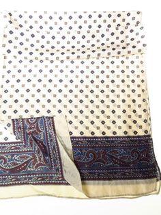 Mens silk paisley scarf cream blue wine - Tweedmans Vintage