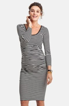 Isabella+Oliver+'Hayfield'+Stripe+Maternity+Dress+available+at+#Nordstrom