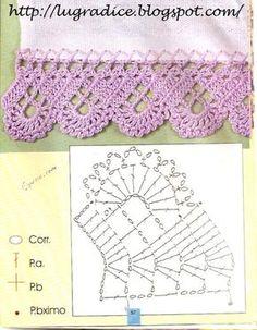 Granny Square Runner Pattern Diagram and Inspiration ⋆ Crochet Kingdom Crochet Boarders, Crochet Edging Patterns, Crochet Lace Edging, Crochet Motifs, Granny Square Crochet Pattern, Crochet Diagram, Crochet Chart, Thread Crochet, Crochet Doilies