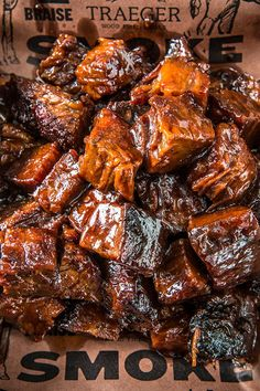These BBQ Burnt Ends are slow smoked and sauced for the ultimate meat delicacy. Sauce them with our Texas Spicy sauce and season them with Traeger Beef Rub. Smoker Grill Recipes, Barbecue Recipes, Grilling Recipes, Electric Smoker Recipes, Barbecue Smoker, Grilling Ideas, Smoker Cooking, Bbq Ribs, Pork Ribs