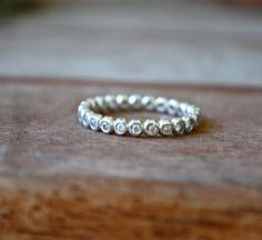 White Topaz Eternity Stack Ring Recycled Sterling by JLaurynDesign, $179.00