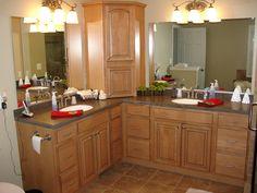 L Shaped Double VanityUnique double sink idea   corner dividing cabinet in master  . Double Sink Corner Vanity. Home Design Ideas