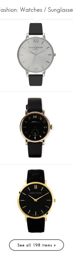 """""""Fashion: Watches / Sunglasses"""" by katiasitems on Polyvore featuring watches, jewelry, accessories, bracelets, relojes, marc by marc jacobs watches, marc by marc jacobs, leather-strap watches, black and gold jewelry and black and gold watches"""