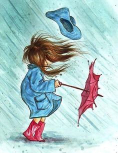 T: Coloured drawing, young girl, blue slicker & hat, red umbrella & rain boots; Art And Illustration, Illustrations, Blowin' In The Wind, Wind And Rain, Dancing In The Rain, Windy Day, Rainy Days, Windy Weather, Rain Art