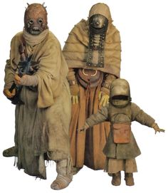 Tusken family from 'The Official Star Wars Fact File Costume Star Wars, Rpg Star Wars, Character Inspiration, Character Design, Star Wars Species, Star Wars Personajes, War Film, The Phantom Menace, Star War 3