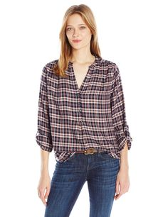Joie Women's Daylan Windowpane Plaid Shirt, Peacoat/Rose, S. Button down. Plaid.