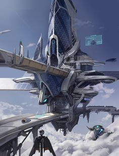 by concept art futuristic city in the sky, sky city environment matte painting, digital art Cyberpunk City, Futuristic City, Futuristic Architecture, Chinese Architecture, Architecture Office, Fantasy City, Fantasy Places, Future City, Science Fiction Kunst