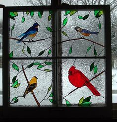 Image result for stained glass trees branches with birds