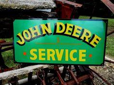 Vintage Hand Painted Steel JOHN DEERE Service SIGN Tractor Farm Advertisement 36 #JohnDeere
