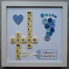 Plastic/Wood Scrabble Art Picture Personalised Names Baby Button Foot Print Craft Frames, 3d Box Frames, Frame Crafts, Scrabble Tile Crafts, Scrabble Art, Scrabble Letters, Puzzle Pieces Games, Lego Frame, Lego Baby
