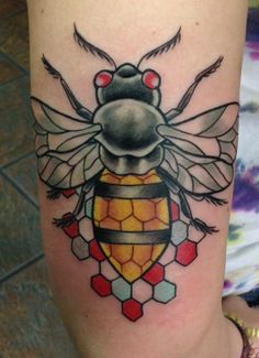 Bee tattoo by Kevin Byers