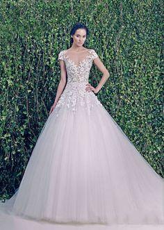 Long Zuhair Murad A-Line Floor-Length V-Neck Dress With Lace Cap Sleeve Short Backelss Tulle Romantic Plus Size Wedding Dresses