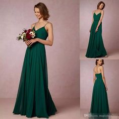 Cheap 2017 Dark Green Flow Chiffon Bridesmaid Dresses Spaghetti Straps Bohemian Maid Of Honor Gowns For Country New Bridesmaid Dresses Cheap Bridesmaid Dresses Long Maid of Honor Dress Online with $86.0/Piece on Magicdress2011's Store | DHgate.com
