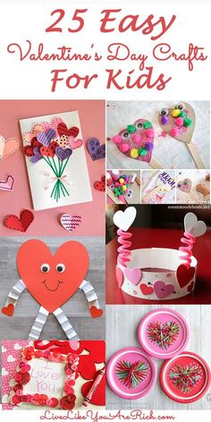 25 Easy Valentine's Day Crafts for Kids. Looking for an easy fun craft activity to do with your kids this Valentine's Day? Here is a round up of 25 Easy Valentine's Day Craft for Kids that are fun and simple. Toddler Valentine Crafts, Valentines Day Activities, Valentines Day Party, Valentines For Kids, February Toddler Crafts, Valentines Crafts For Preschoolers, Homemade Valentines, Valentine Ideas, Classroom Crafts