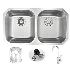 "Moore 32.25"" x 18.5"" Double Bowl Undermount Kitchen Sink with Faucet"