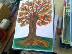 oil crayons helped me in creating my autumn tree's rustic colours.