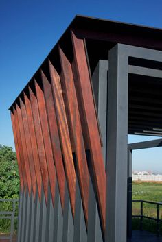 Gallery of Bird Watching Spot / Pedro Barrail + Marcelo Barrail + Lourdes Mendez - 9 Architecture Durable, Wood Architecture, Amazing Architecture, Architecture Details, Shade Structure, Steel Structure, Landscape Structure, Landscape Design, Facade Design