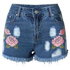 Embroideried na moda quebrado Shorts buraco Mulheres Denim Macrame (Azul Escuro,3XL)