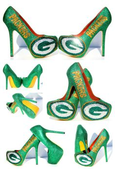 Green Bay Packers Heels with Swarovski Crystals #Packers #cheesehead #GreenBay