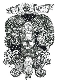 Zodiac Series: ARIES por BirdBlackEmporium en Etsy