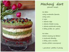 Mechovy dort Fun Deserts, Tiramisu, Sweet Recipes, Cheesecake, Food And Drink, Pudding, Cupcakes, Eat, Cooking