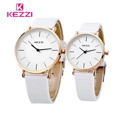 KEZZI Brand Lovers Women Men Unisex Watches Leather Band vintage Quartz Analog Wrist Watch relojes Fashion Design For Gift 2017
