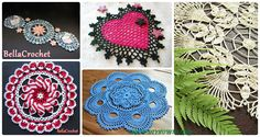A collection of Crochet Doily Free Patterns: Crochet Swan doily, pinwheel doily, flower doily, heart doily, lace doily, table runner, table cloth