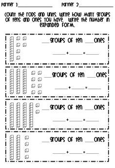 tattling to the teacher: Place Value and a Freebie.good job on a place value lesson--need to read! Tens And Ones Worksheets, Math Worksheets, Math Resources, Math Activities, Math Enrichment, Math Strategies, Math Place Value, Place Values, Math School