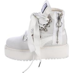 Pre-owned Fenty x Puma Platform Combat Boots ($85) ❤ liked on Polyvore featuring shoes, boots, ankle booties, white, platform booties, lace-up bootie, grey suede booties, grey booties and ankle boots