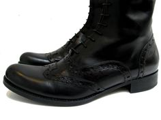 Tall Wingtip Riding Boots Womens Black Leather by Atomicfireball
