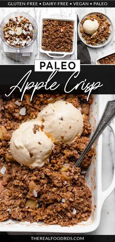 Enjoy this Vegan Paleo Apple Crisp made with sweet and tender apple slices, warm cinnamon, and a nutty-coconut topping. Paleo apple crisp without oats is the best apple crisp recipe you're ever going to make with only 15 minutes of prep time! || The Real Food Dietitians ||