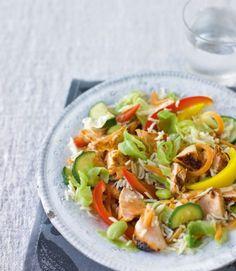 Teriyaki salmon stir-fry with wasabi-fried rice