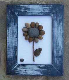 """Pebble Art (Adorable Single Brown Flower) set on a brilliant white background in a 7 x 10 """"open"""" rustic frame by CrawfordBunch on Etsy Pebble Stone, Pebble Art, Stone Art, Sea Glass Crafts, Sea Glass Art, Stone Crafts, Rock Crafts, Rock Flowers, Rock And Pebbles"""