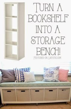 Best DIY Projects: 20 Creative Furniture Hacks :: Turn a bookshelf into a cute storage bench! Mommy Vignettes has the tutorial.
