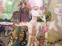The Long Lost Woods: The stars eat your body - Del Kathryn Barton Illustrations, Illustration Art, Del Kathryn Barton, Mixed Media Artwork, Romance, My Spirit Animal, Australian Artists, Painting & Drawing, Drawing Board