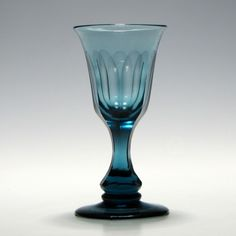 Azure Blue Slice Cut Wine Glass c1830