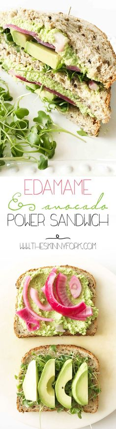 Edamame & Avocado Power Sandwich! #Sponsored It's #soyfoodsmonth in April so this sandwich is the perfect way to celebrate #tastysoyfoods! /soyfoods/ http://TheSkinnyFork.com | Skinny & Healthy Recipes