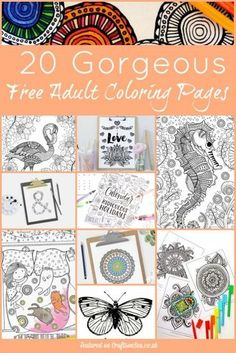 20 Gorgeous free adult coloring pages. Beautiful relaxing designs, click here to download them all.: