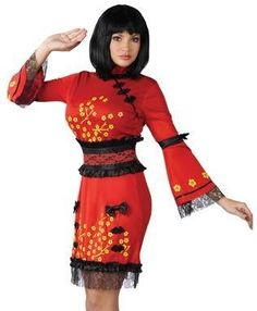 Amazon.com New China Doll Geisha Dress Adult Halloween Costume Womens U.S. Small/  sc 1 st  Pinterest & 148 best C. Costume Ideas images on Pinterest   Adult costumes ...
